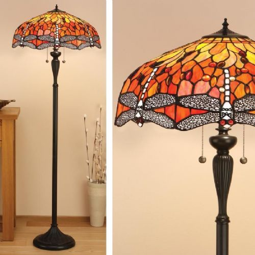 Dragonfly Flame Floor Lamp (Nature, Tiffany Studio, Traditional, Floor Lamp) T077F (Tiffany style)